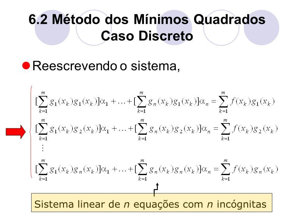 6.2 Método dos Mínimos Quadrados Caso Discreto Reescrevendo o sistema, Sistema linear de n equações com n incógnitas