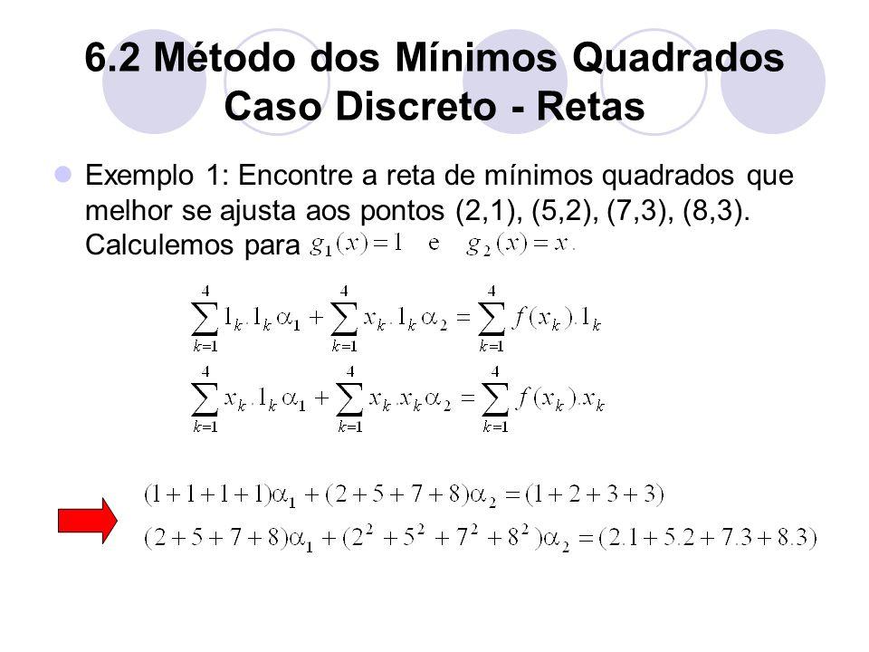 6.2 Método dos Mínimos Quadrados Caso Discreto - Retas Exemplo 1: Encontre a reta de mínimos quadrados que melhor se ajusta aos pontos (2,1), (5,2), (