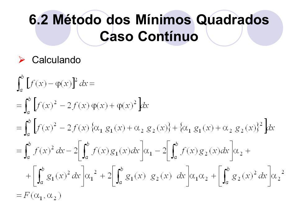 6.2 Método dos Mínimos Quadrados Caso Contínuo Calculando