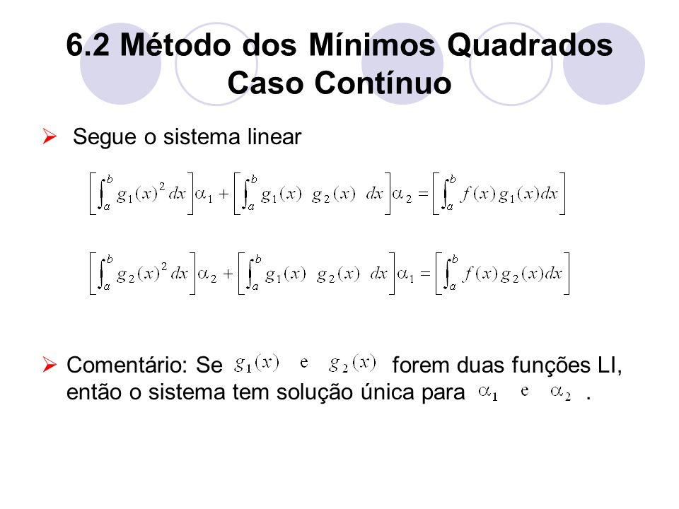 6.2 Método dos Mínimos Quadrados Caso Contínuo Segue o sistema linear Comentário: Se forem duas funções LI, então o sistema tem solução única para.
