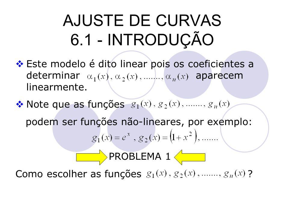 AJUSTE DE CURVAS 6.1 - INTRODUÇÃO Este modelo é dito linear pois os coeficientes a determinar aparecem linearmente. Note que as funções podem ser funç