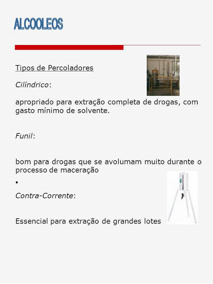 Tipos de Percoladores Cilíndrico: apropriado para extração completa de drogas, com gasto mínimo de solvente. Funil: bom para drogas que se avolumam mu