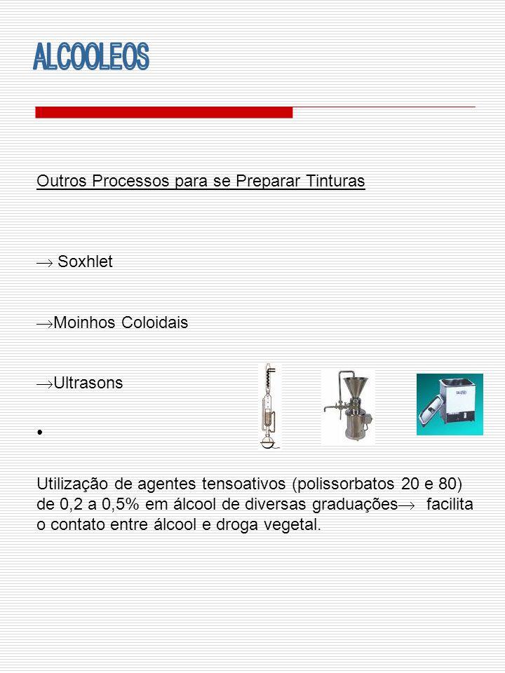Outros Processos para se Preparar Tinturas Soxhlet Moinhos Coloidais Ultrasons Utilização de agentes tensoativos (polissorbatos 20 e 80) de 0,2 a 0,5%