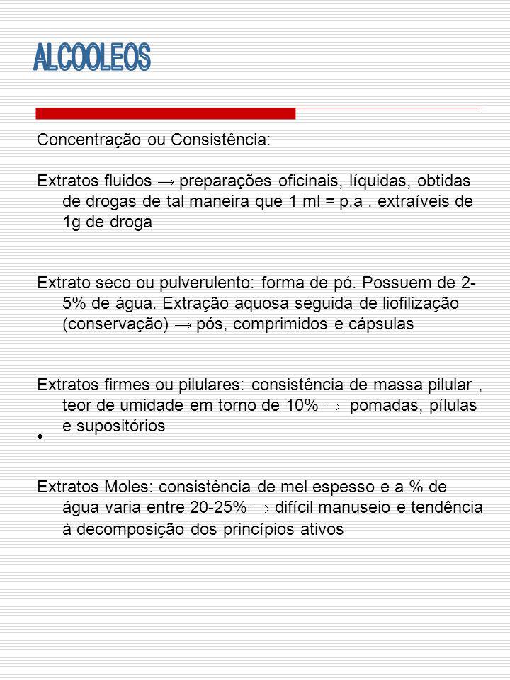 Concentração ou Consistência: Extratos fluidos preparações oficinais, líquidas, obtidas de drogas de tal maneira que 1 ml = p.a. extraíveis de 1g de d