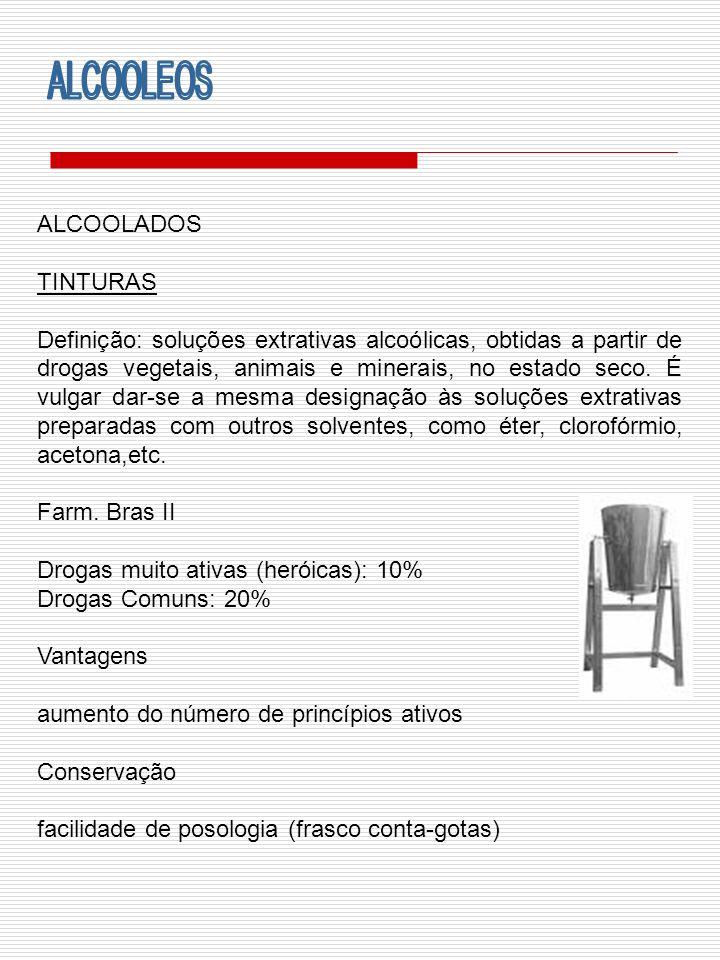 ALCOOLADOS TINTURAS Definição: soluções extrativas alcoólicas, obtidas a partir de drogas vegetais, animais e minerais, no estado seco. É vulgar dar-s