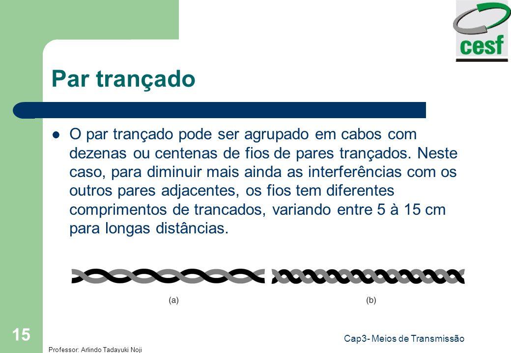Professor: Arlindo Tadayuki Noji Cap3- Meios de Transmissão 15 Par trançado O par trançado pode ser agrupado em cabos com dezenas ou centenas de fios