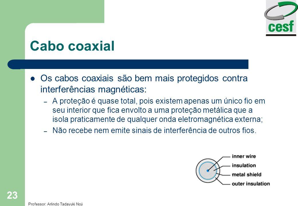 Professor: Arlindo Tadayuki Noji Cap3- Meios de Transmissão 23 Cabo coaxial Os cabos coaxiais são bem mais protegidos contra interferências magnéticas