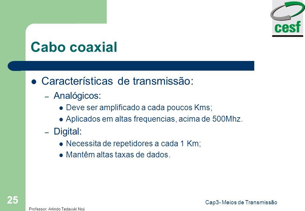Professor: Arlindo Tadayuki Noji Cap3- Meios de Transmissão 25 Cabo coaxial Características de transmissão: – Analógicos: Deve ser amplificado a cada