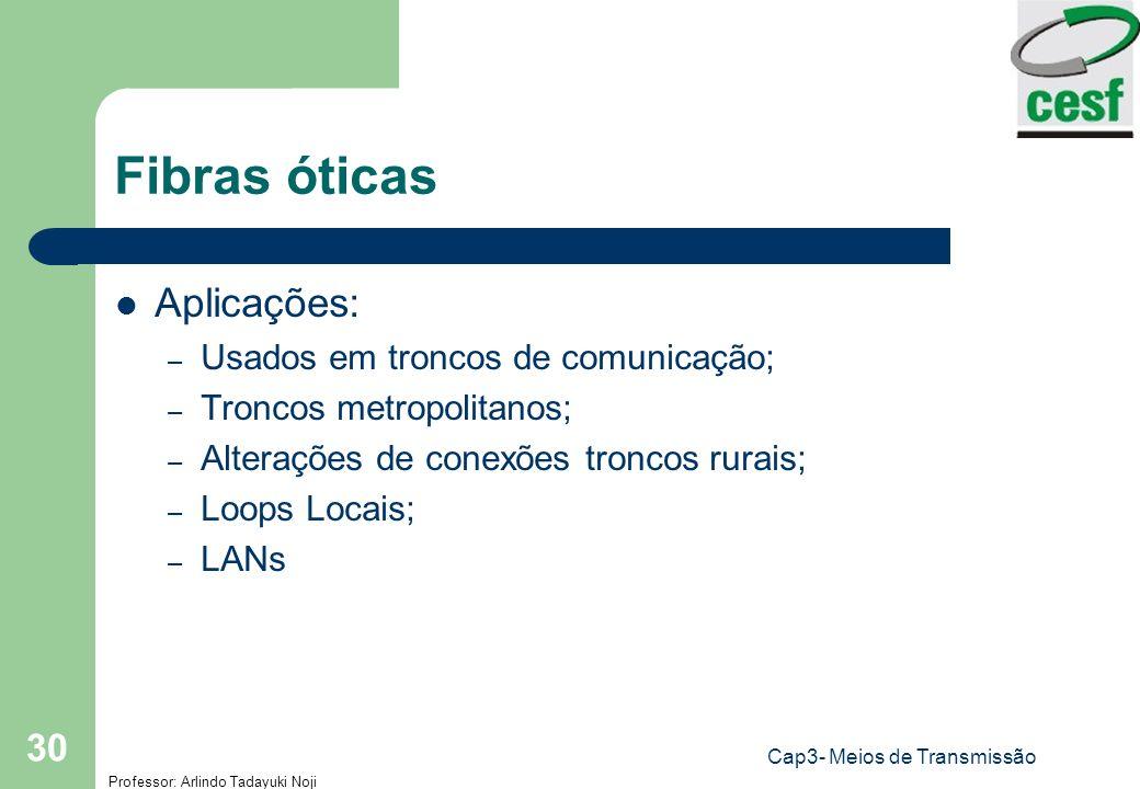 Professor: Arlindo Tadayuki Noji Cap3- Meios de Transmissão 30 Fibras óticas Aplicações: – Usados em troncos de comunicação; – Troncos metropolitanos;
