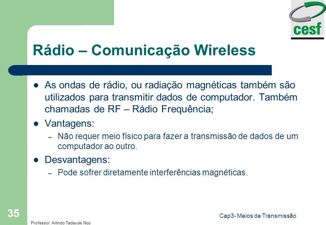 Professor: Arlindo Tadayuki Noji Cap3- Meios de Transmissão 35 Rádio – Comunicação Wireless As ondas de rádio, ou radiação magnéticas também são utili