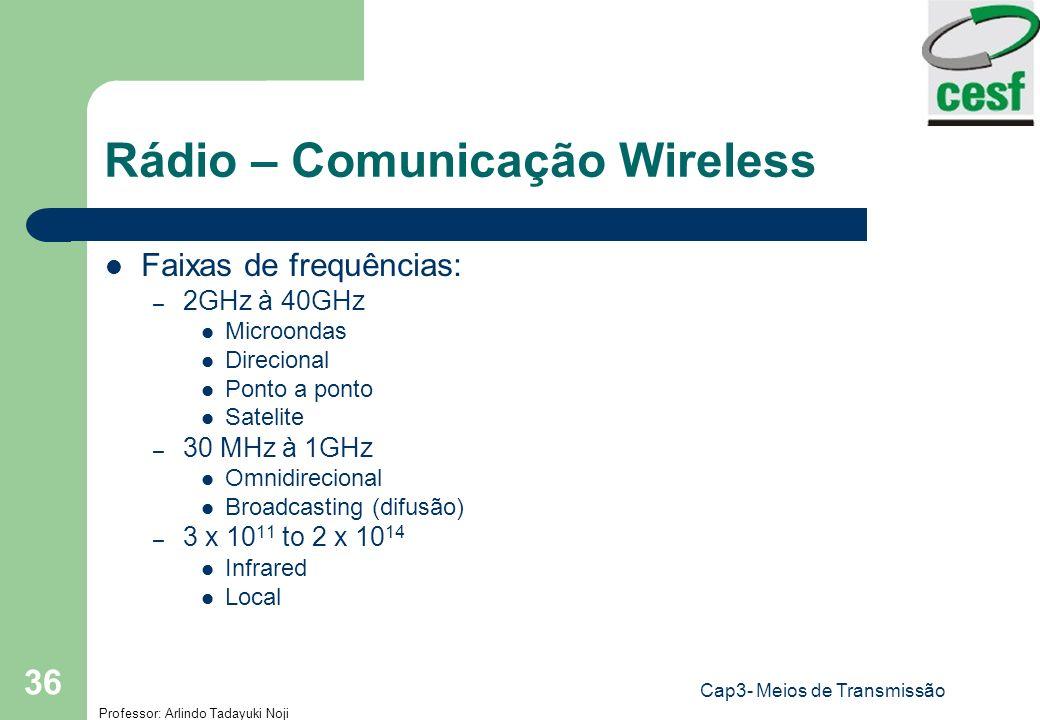 Professor: Arlindo Tadayuki Noji Cap3- Meios de Transmissão 36 Rádio – Comunicação Wireless Faixas de frequências: – 2GHz à 40GHz Microondas Direciona