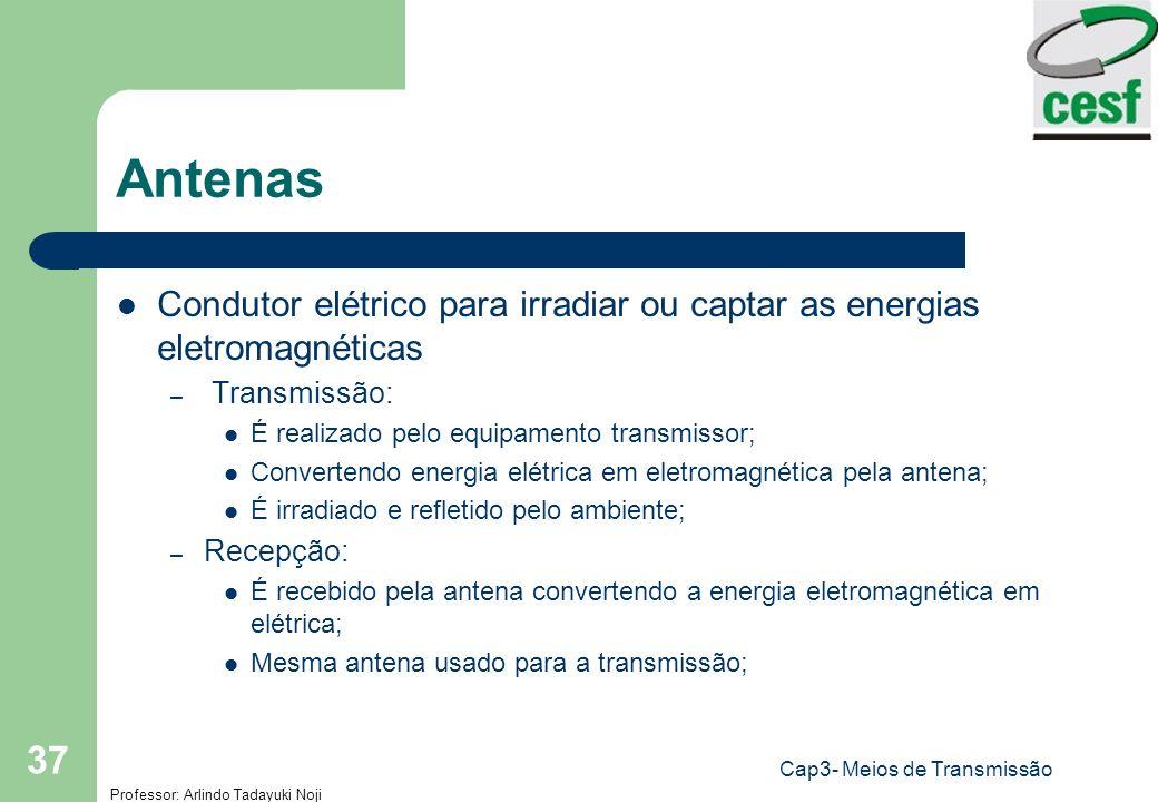 Professor: Arlindo Tadayuki Noji Cap3- Meios de Transmissão 37 Antenas Condutor elétrico para irradiar ou captar as energias eletromagnéticas – Transm
