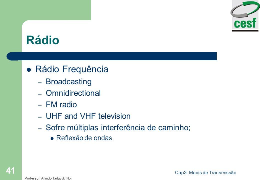 Professor: Arlindo Tadayuki Noji Cap3- Meios de Transmissão 41 Rádio Rádio Frequência – Broadcasting – Omnidirectional – FM radio – UHF and VHF televi