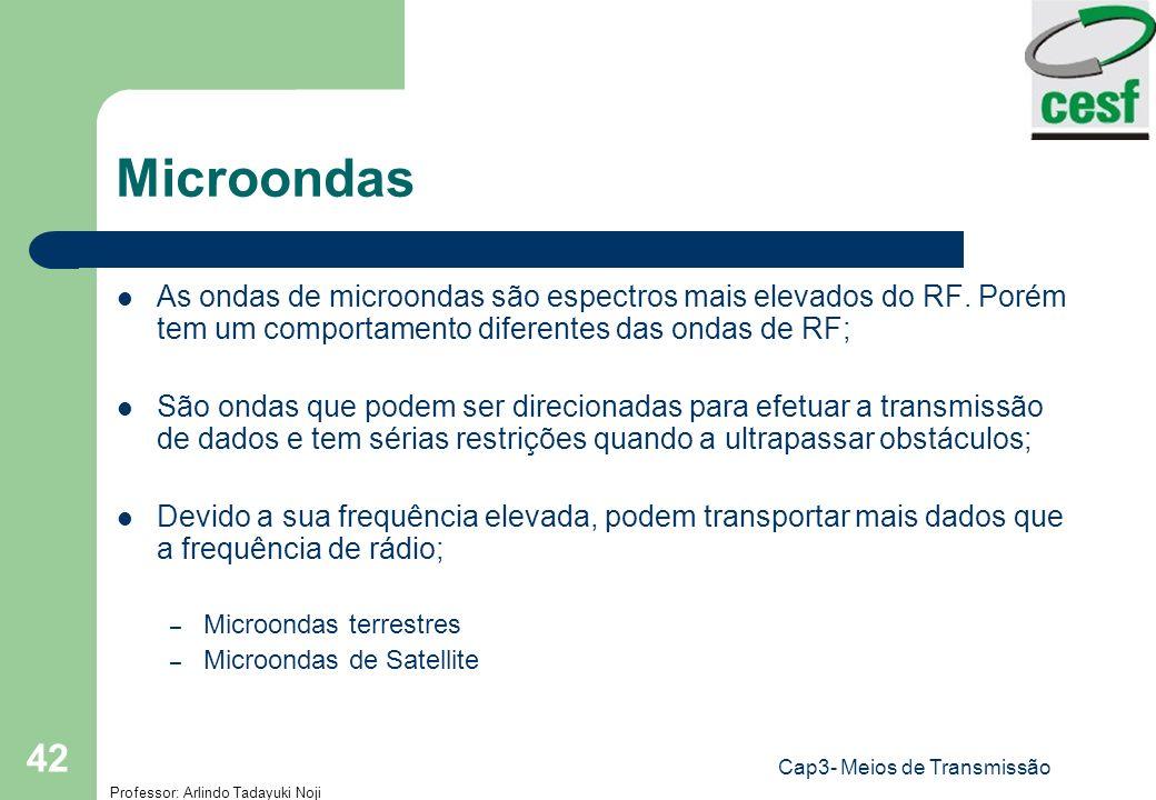 Professor: Arlindo Tadayuki Noji Cap3- Meios de Transmissão 42 Microondas As ondas de microondas são espectros mais elevados do RF. Porém tem um compo