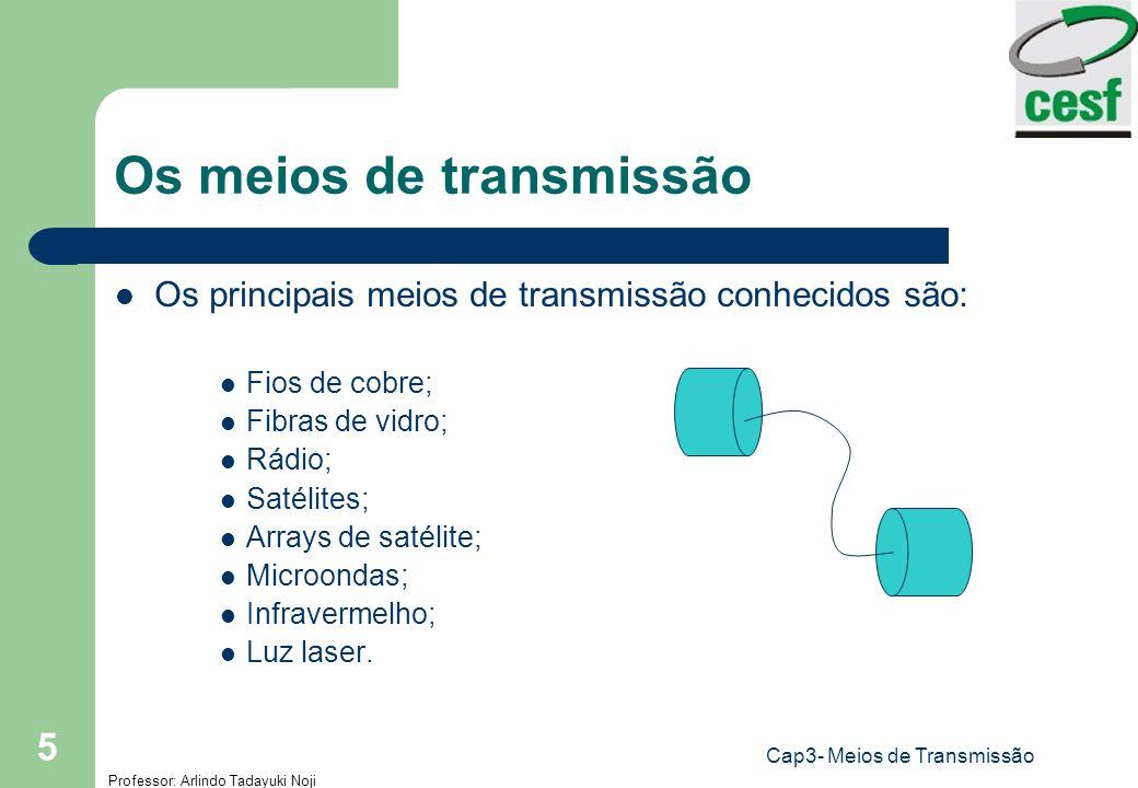 Professor: Arlindo Tadayuki Noji Cap3- Meios de Transmissão 5 Os meios de transmissão Os principais meios de transmissão conhecidos são: Fios de cobre