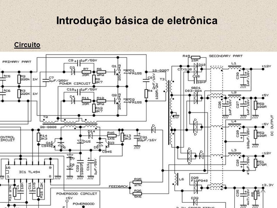 Introdução básica de eletrônica Unidades de Medida 1 k (kilo) = 10 3 = 1.000 1 M (mega) = 10 6 = 1.000.000 1 G (giga) = 10 9 = 1.000.000.000 1 T (tera) = 10 12 = 1.000.000.000.000 -------------------------------------------------- 1 m (mili) = 10 -3 = 0.001 1 u (micro) = 10 -6 = 0.000001 1 n (nano) = 10 -9 = 0.000000001 1 p (pico) = 10 -12 = 0.000000000001