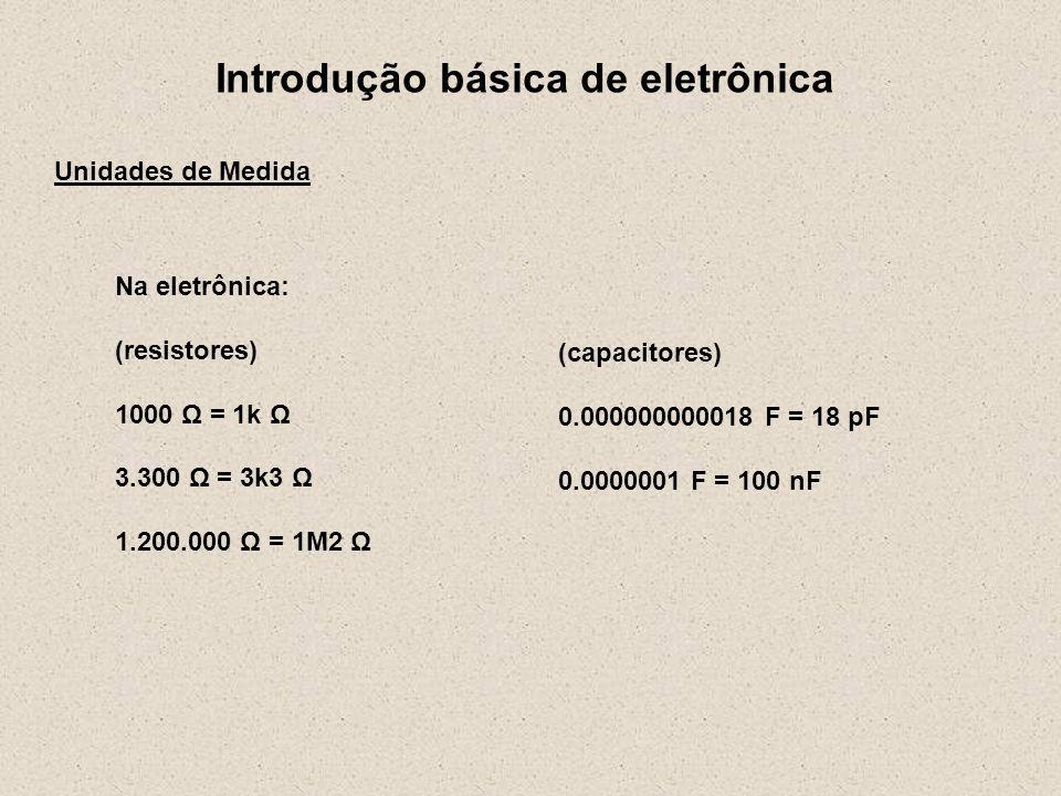 Introdução básica de eletrônica Unidades de Medida Na eletrônica: (resistores) 1000 Ω = 1k Ω 3.300 Ω = 3k3 Ω 1.200.000 Ω = 1M2 Ω (capacitores) 0.00000