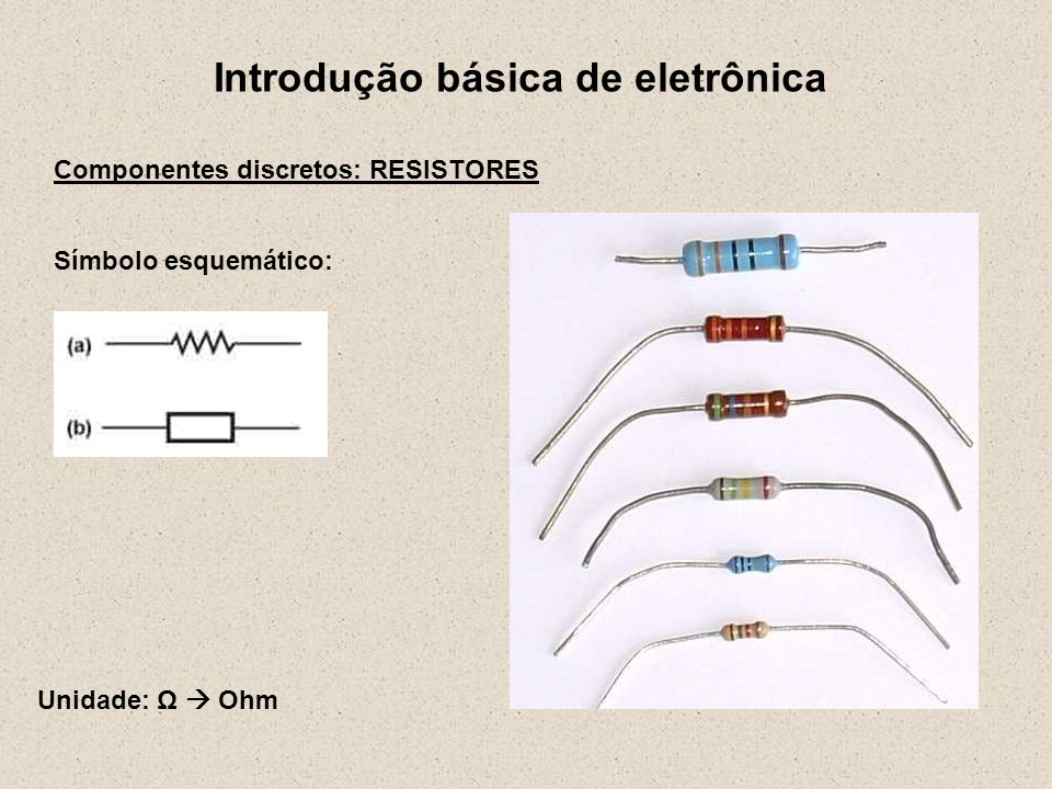 Introdução básica de eletrônica Componentes discretos: RESISTORES