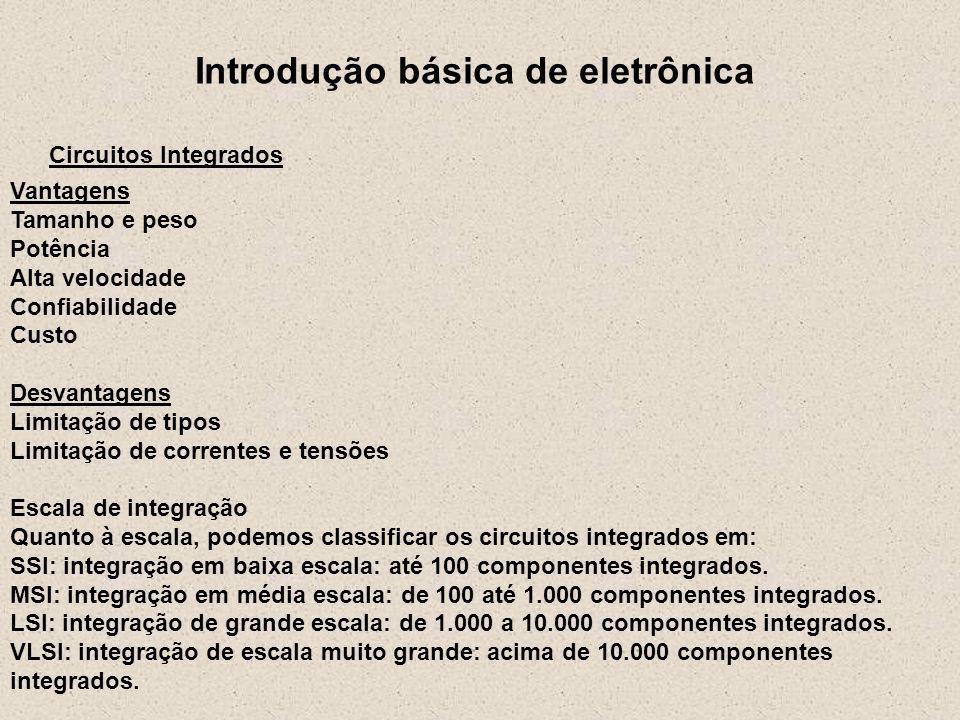 Introdução básica de eletrônica Circuitos Integrados Vantagens Tamanho e peso Potência Alta velocidade Confiabilidade Custo Desvantagens Limitação de
