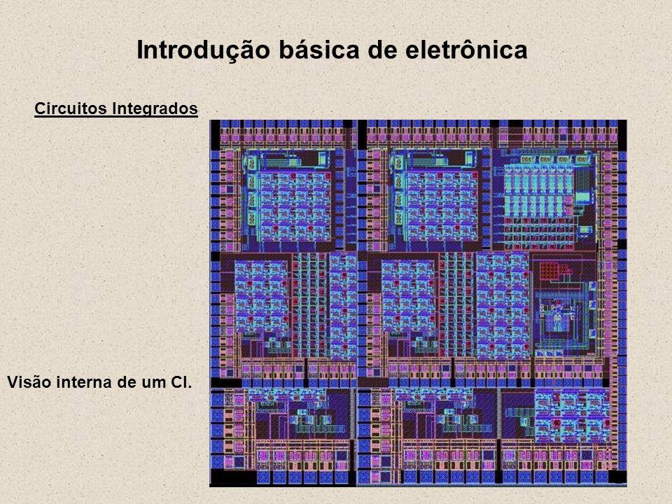 Introdução básica de eletrônica Circuitos Integrados Visão interna de um CI.