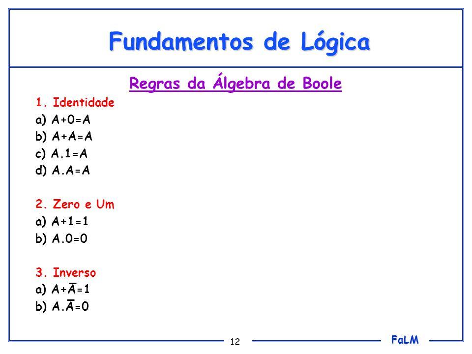 FaLM 12 Fundamentos de Lógica Regras da Álgebra de Boole 1.Identidade a) A+0=A b) A+A=A c) A.1=A d) A.A=A 2.Zero e Um a) A+1=1 b) A.0=0 3.Inverso a) A