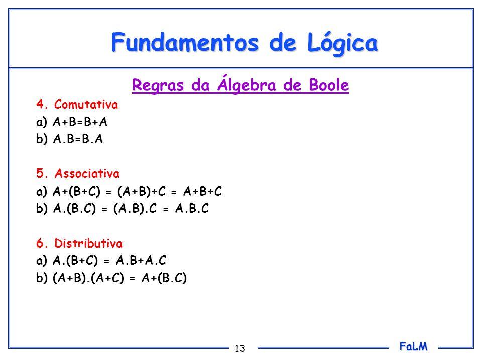 FaLM 13 Fundamentos de Lógica Regras da Álgebra de Boole 4.Comutativa a) A+B=B+A b) A.B=B.A 5.Associativa a) A+(B+C) = (A+B)+C = A+B+C b) A.(B.C) = (A