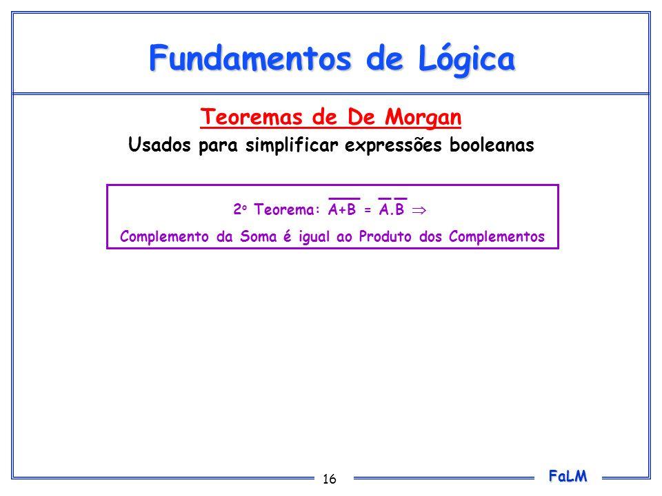 FaLM 16 Fundamentos de Lógica Teoremas de De Morgan Usados para simplificar expressões booleanas 2 o Teorema: A+B = A.B Complemento da Soma é igual ao