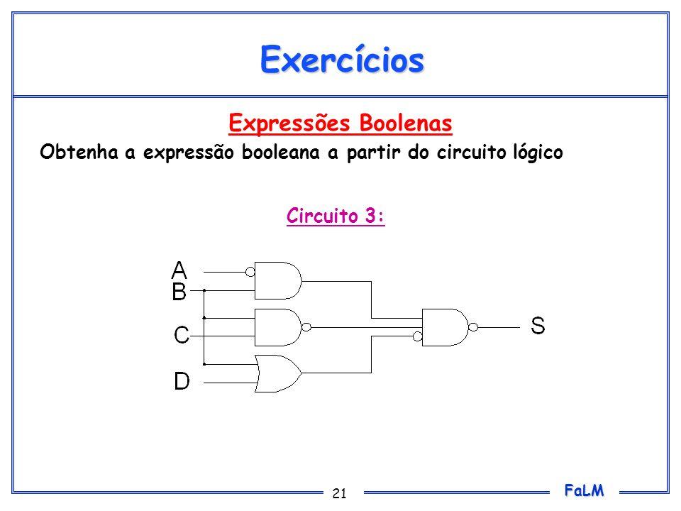 FaLM 21 Expressões Boolenas Obtenha a expressão booleana a partir do circuito lógico Exercícios Circuito 3: