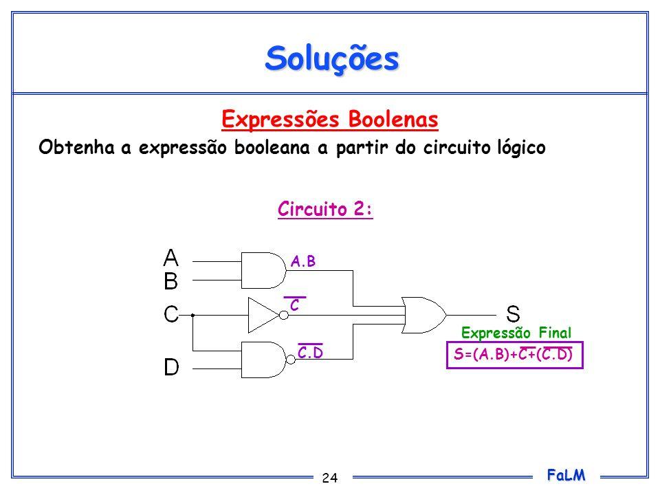 FaLM 24 Expressões Boolenas Obtenha a expressão booleana a partir do circuito lógico Soluções Circuito 2: A.B C.D C S=(A.B)+C+(C.D) Expressão Final