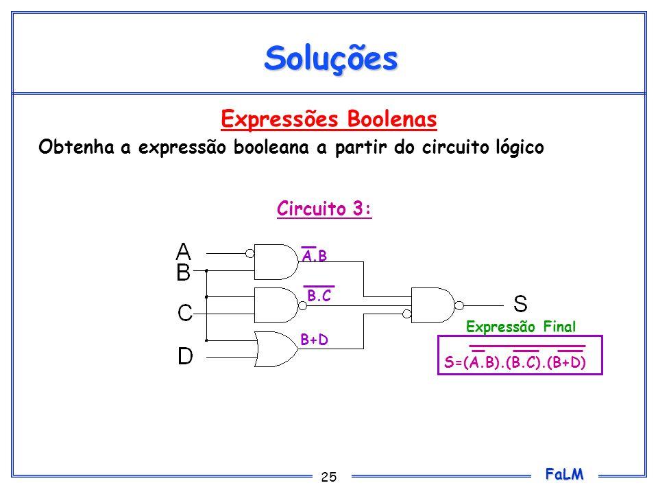 FaLM 25 Expressões Boolenas Obtenha a expressão booleana a partir do circuito lógico Soluções Circuito 3: A.B B.C B+D S=(A.B).(B.C).(B+D) Expressão Fi