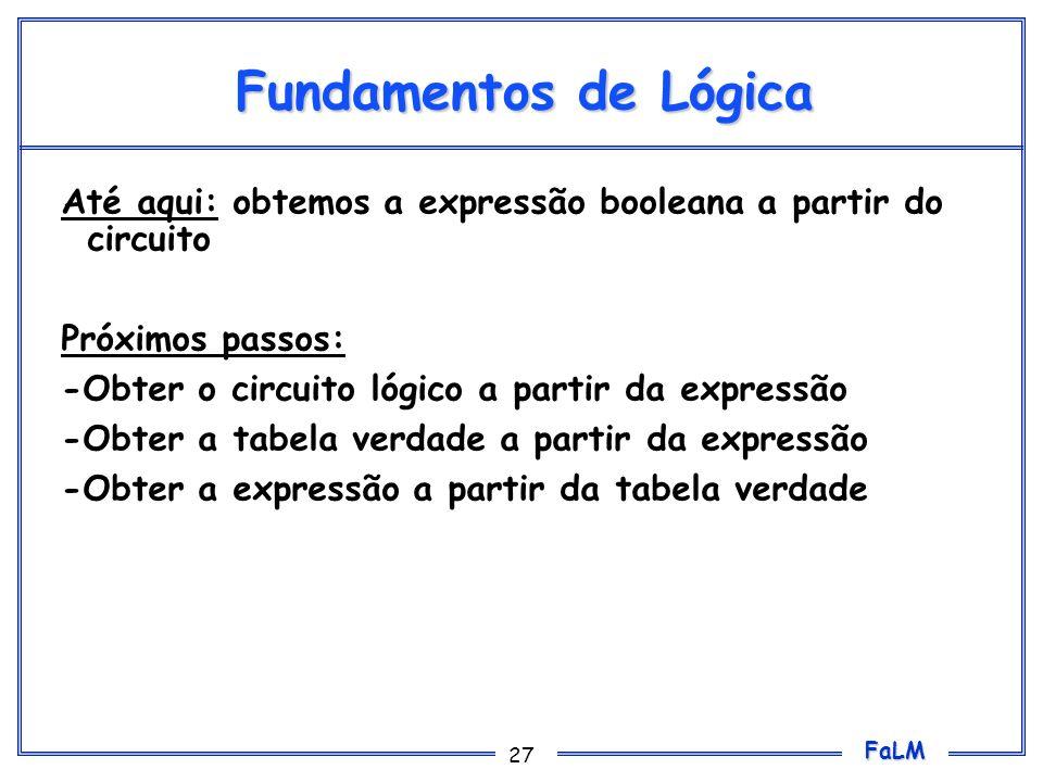 FaLM 27 Fundamentos de Lógica Até aqui: obtemos a expressão booleana a partir do circuito Próximos passos: -Obter o circuito lógico a partir da expres