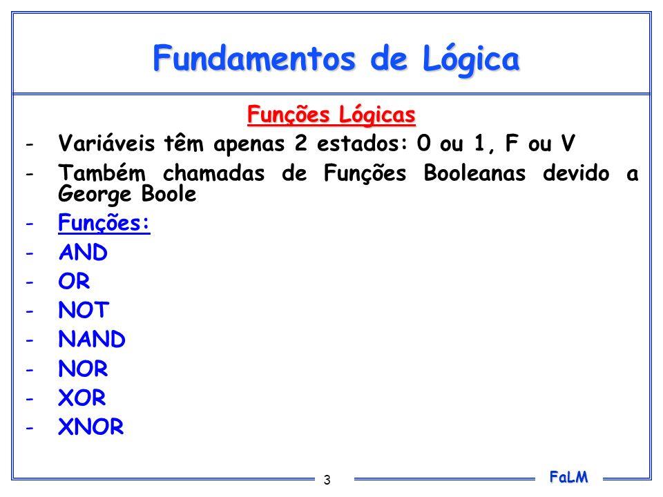 FaLM 3 Fundamentos de Lógica Funções Lógicas -Variáveis têm apenas 2 estados: 0 ou 1, F ou V -Também chamadas de Funções Booleanas devido a George Boo