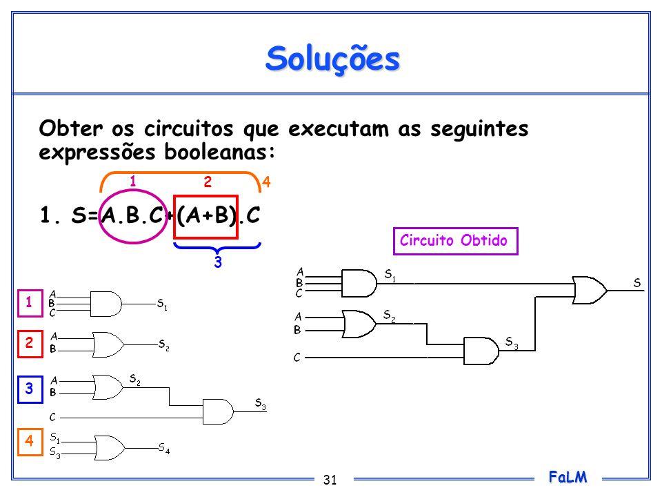 FaLM 31 Soluções Obter os circuitos que executam as seguintes expressões booleanas: 1. S=A.B.C+(A+B).C Circuito Obtido 1 2 3 4 1 2 3 4