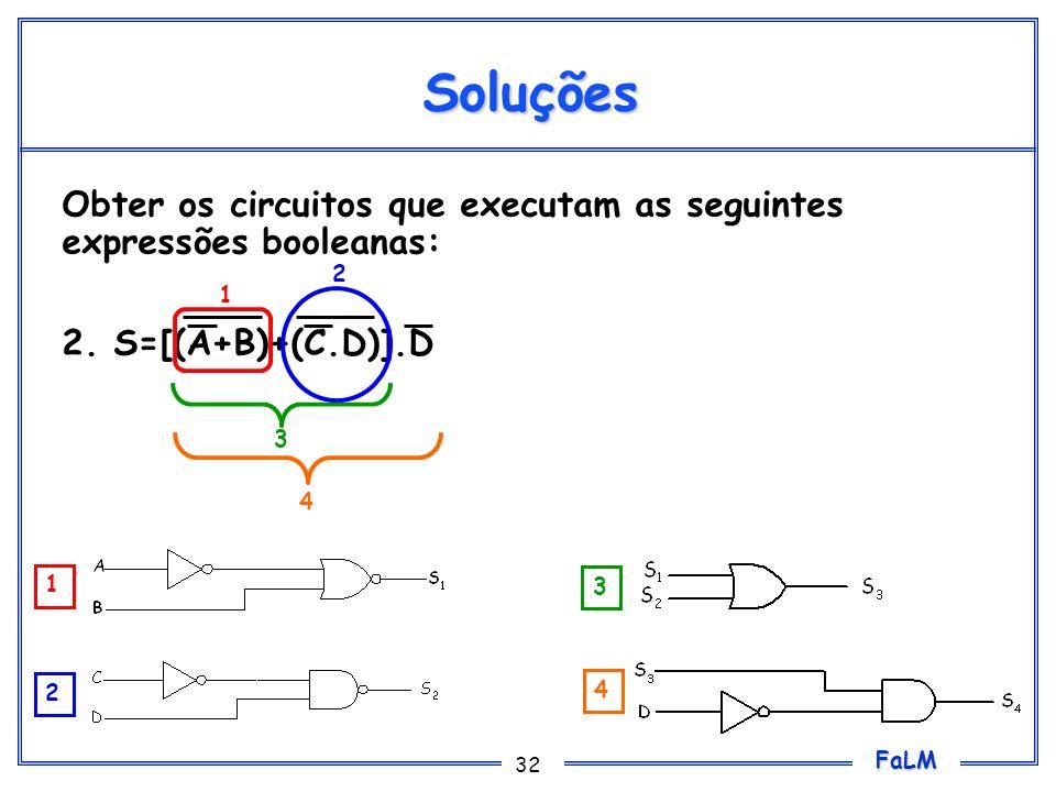 FaLM 32 Soluções Obter os circuitos que executam as seguintes expressões booleanas: 2. S=[(A+B)+(C.D)].D 1 2 3 4 1 2 3 4