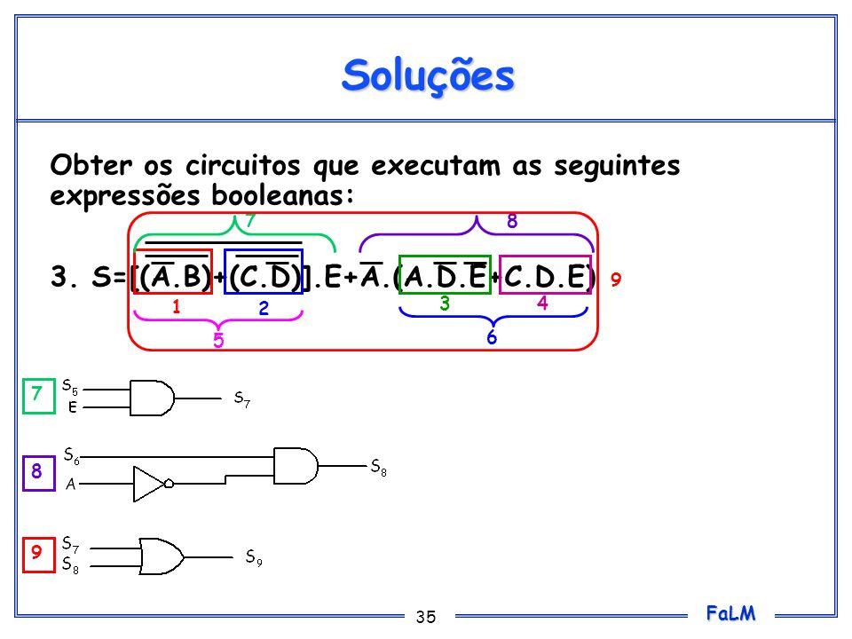 FaLM 35 Soluções Obter os circuitos que executam as seguintes expressões booleanas: 3. S=[(A.B)+(C.D)].E+A.(A.D.E+C.D.E) 1 2 34 5 6 78 7 8 9 9