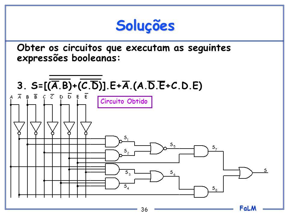 FaLM 36 Soluções Obter os circuitos que executam as seguintes expressões booleanas: 3. S=[(A.B)+(C.D)].E+A.(A.D.E+C.D.E) Circuito Obtido