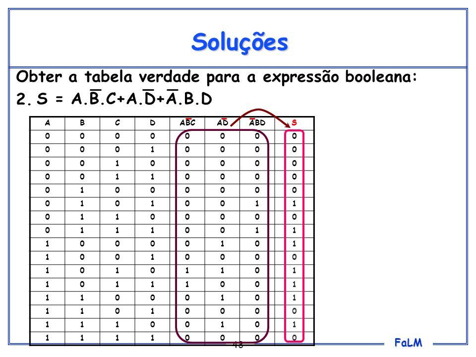 FaLM 43 Soluções Obter a tabela verdade para a expressão booleana: 2. S = A.B.C+A.D+A.B.D ABCDABCADABDS 00000000 00010000 00100000 00110000 01000000 0