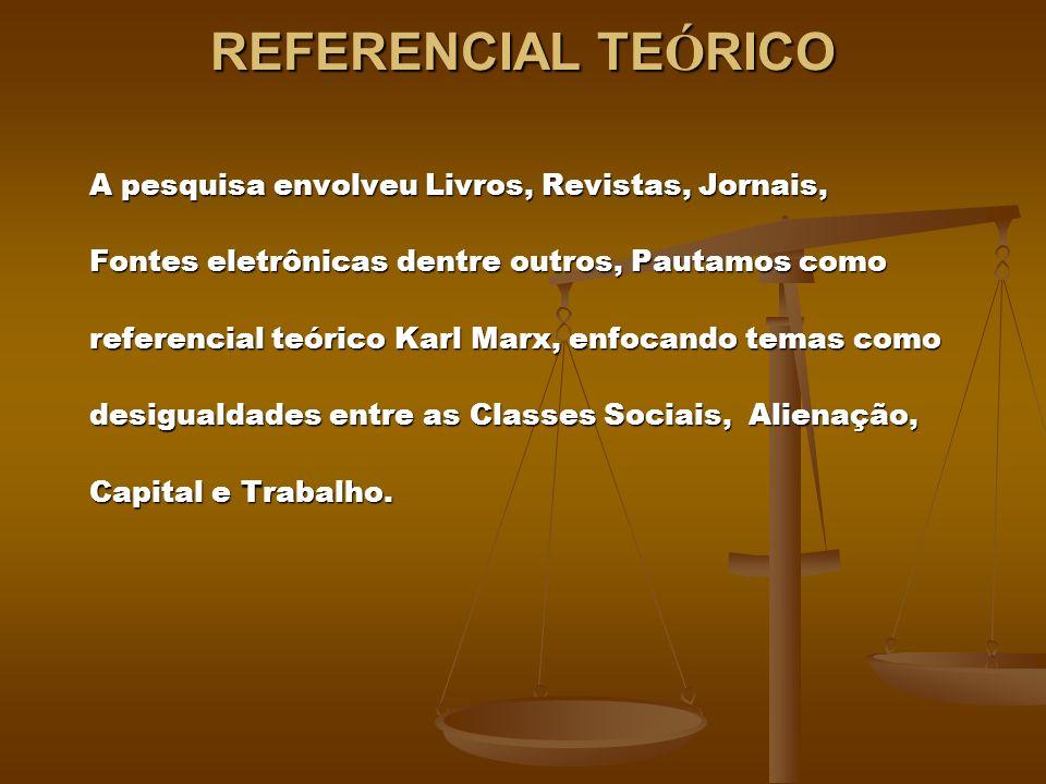 REFERENCIAL TE Ó RICO A pesquisa envolveu Livros, Revistas, Jornais, Fontes eletrônicas dentre outros, Pautamos como referencial teórico Karl Marx, en