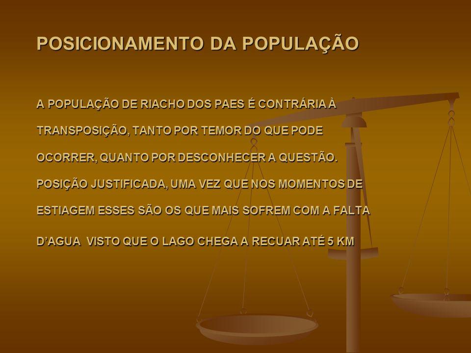 POSICIONAMENTO DA POPULAÇÃO A POPULAÇÃO DE RIACHO DOS PAES É CONTRÁRIA À TRANSPOSIÇÃO, TANTO POR TEMOR DO QUE PODE OCORRER, QUANTO POR DESCONHECER A Q