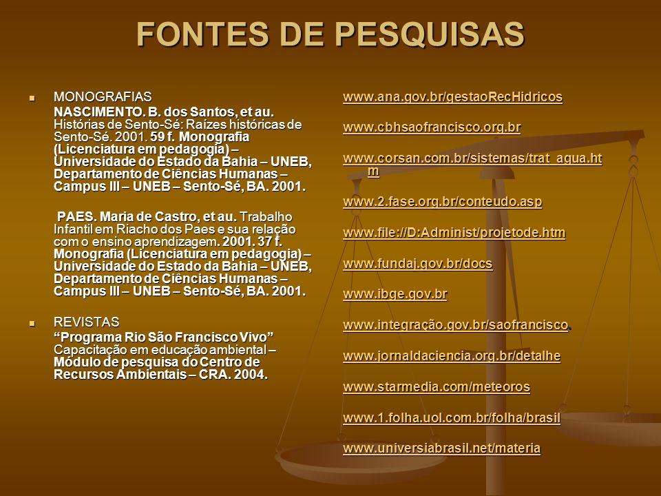 FONTES DE PESQUISAS MONOGRAFIAS MONOGRAFIAS NASCIMENTO. B. dos Santos, et au. Histórias de Sento-Sé: Raízes históricas de Sento-Sé. 2001. 59 f. Monogr