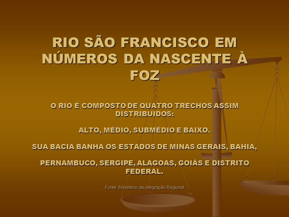 RIO SÃO FRANCISCO EM NÚMEROS DA NASCENTE À FOZ O RIO É COMPOSTO DE QUATRO TRECHOS ASSIM DISTRIBUIDOS: ALTO, MÉDIO, SUBMÉDIO E BAIXO. SUA BACIA BANHA O