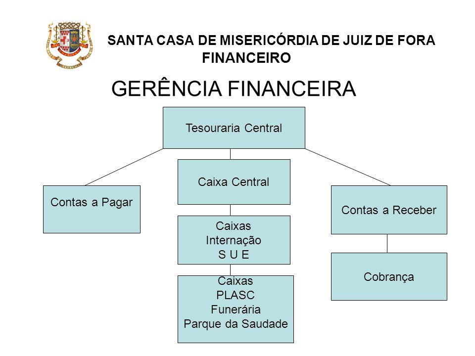 SANTA CASA DE MISERICÓRDIA DE JUIZ DE FORA FINANCEIRO GERÊNCIA FINANCEIRA Contas a Pagar Caixa Central Contas a Receber Tesouraria Central Caixas Inte