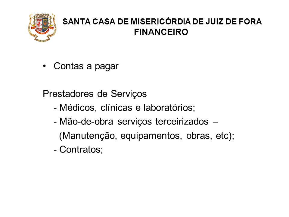 SANTA CASA DE MISERICÓRDIA DE JUIZ DE FORA FINANCEIRO Contas a pagar Prestadores de Serviços - Médicos, clínicas e laboratórios; - Mão-de-obra serviço