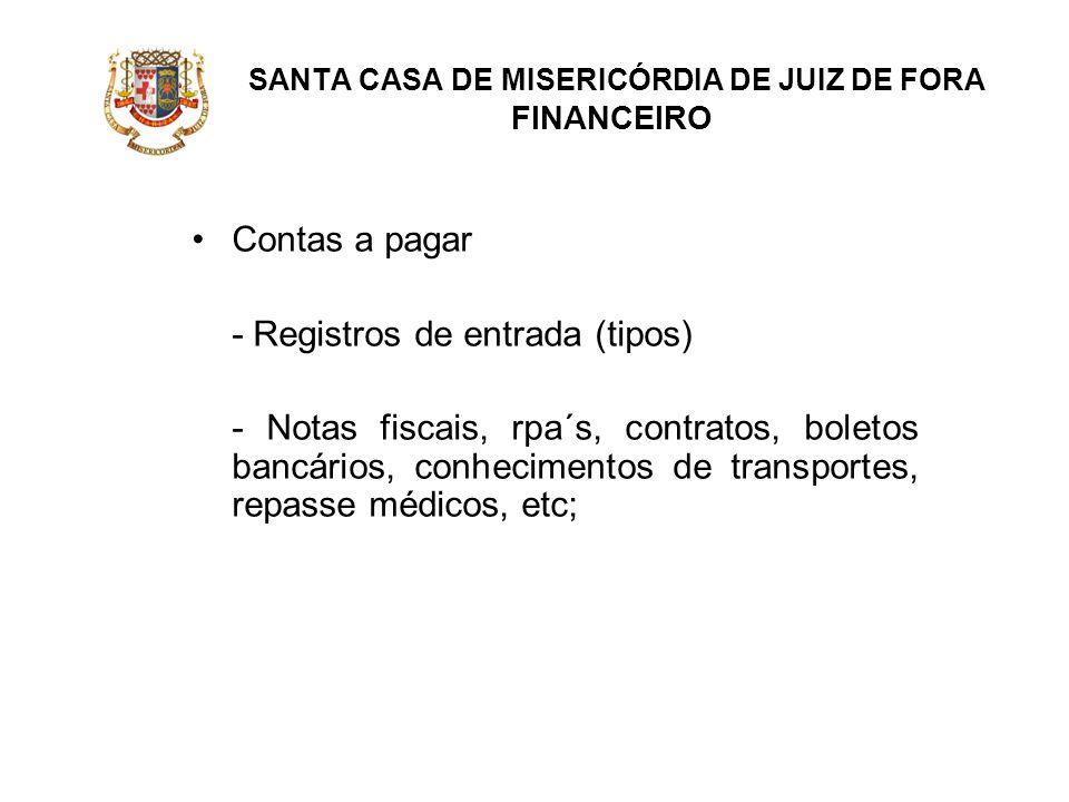 SANTA CASA DE MISERICÓRDIA DE JUIZ DE FORA FINANCEIRO Contas a pagar - Registros de entrada (tipos) - Notas fiscais, rpa´s, contratos, boletos bancári