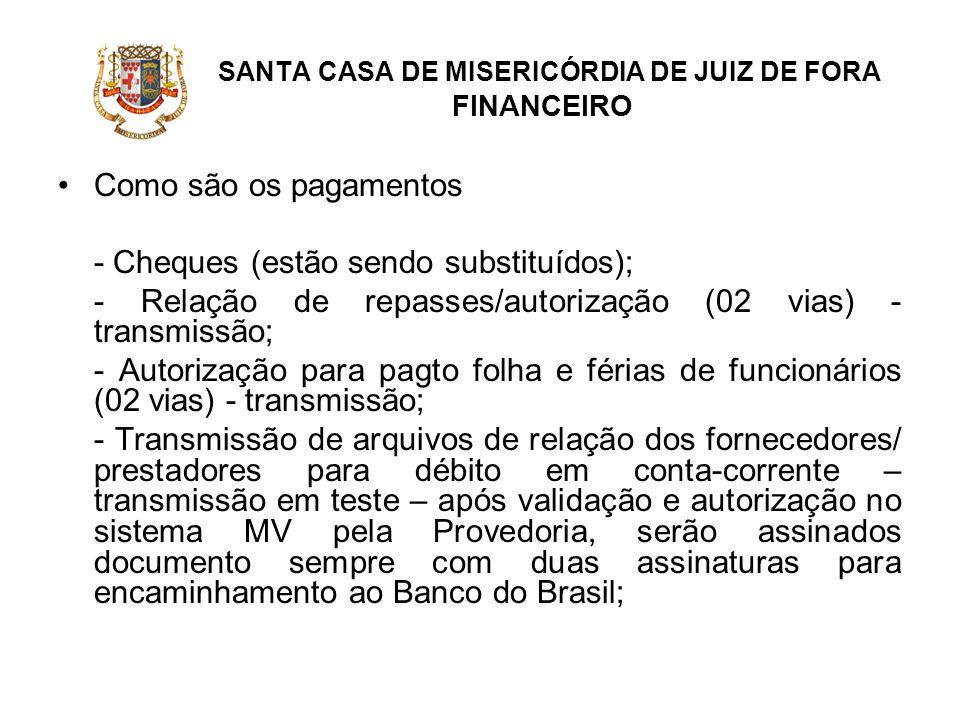 SANTA CASA DE MISERICÓRDIA DE JUIZ DE FORA FINANCEIRO Como são os pagamentos - Cheques (estão sendo substituídos); - Relação de repasses/autorização (