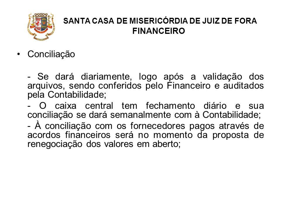 SANTA CASA DE MISERICÓRDIA DE JUIZ DE FORA FINANCEIRO Conciliação - Se dará diariamente, logo após a validação dos arquivos, sendo conferidos pelo Fin