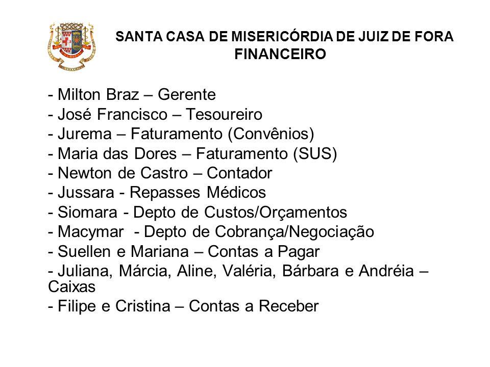 SANTA CASA DE MISERICÓRDIA DE JUIZ DE FORA FINANCEIRO - Milton Braz – Gerente - José Francisco – Tesoureiro - Jurema – Faturamento (Convênios) - Maria