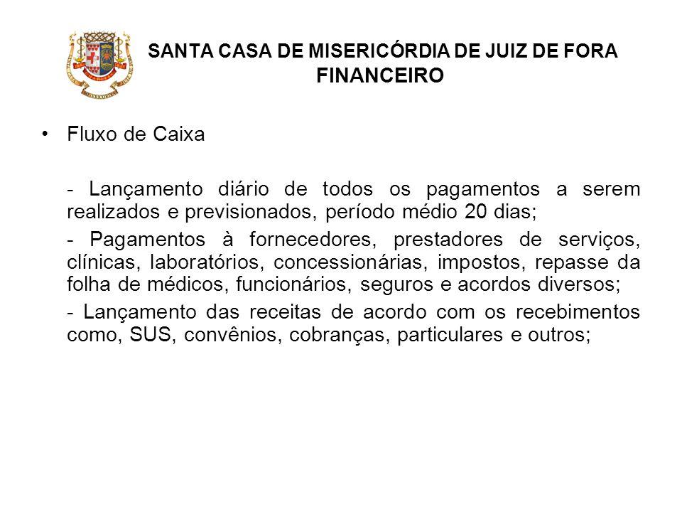 SANTA CASA DE MISERICÓRDIA DE JUIZ DE FORA FINANCEIRO Fluxo de Caixa - Lançamento diário de todos os pagamentos a serem realizados e previsionados, pe