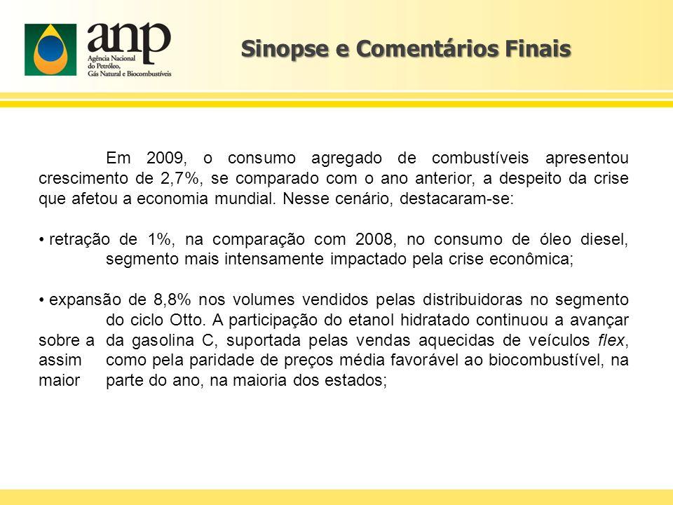 Sinopse e Comentários Finais Em 2009, o consumo agregado de combustíveis apresentou crescimento de 2,7%, se comparado com o ano anterior, a despeito d
