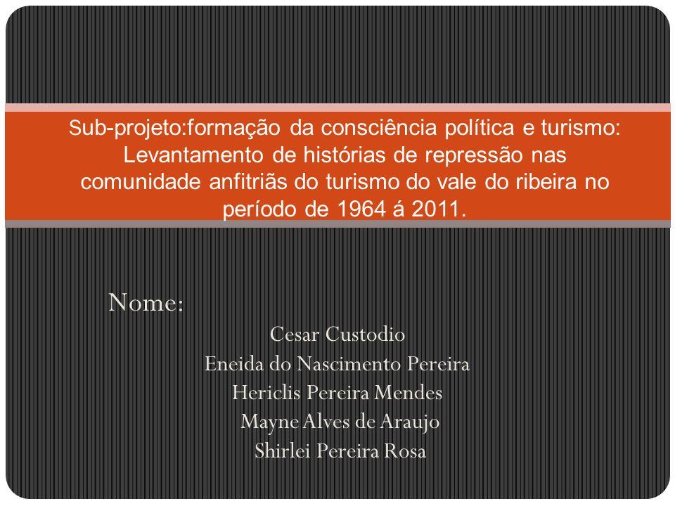 Nome: Cesar Custodio Eneida do Nascimento Pereira Hericlis Pereira Mendes Mayne Alves de Araujo Shirlei Pereira Rosa S ub-projeto:formação da consciên